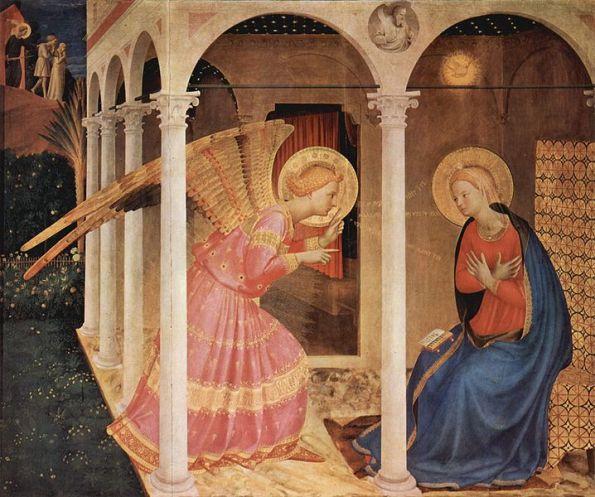Fra Angelico 1434; 63 x 71 pulgadas tempera sobre tabla Museo Curico, Cortona