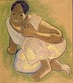 Gauguin_-_Kauerndes_Mädchen_von_Tahiti_-_1892